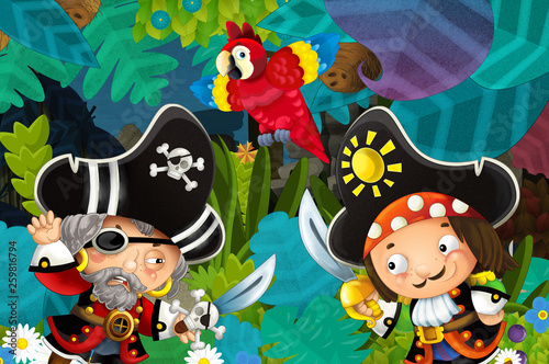 cartoon scene with pirates fighting in the jungle - duel - illustration for children - 259816794