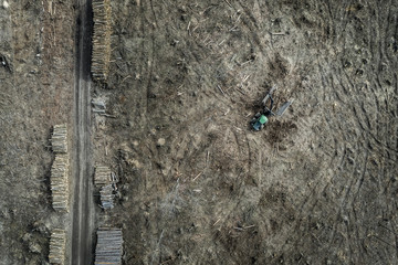 Aerial view of shocking deforestation, environmental destruction, Poland