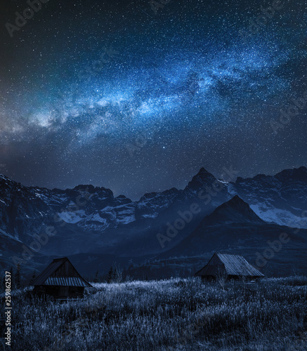 Milky way over Tatra mountain and small cottages, Poland © shaiith