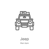 jeep icon vector from men item collection. Thin line jeep outline icon vector illustration. Outline, thin line jeep icon for website design and mobile, app development