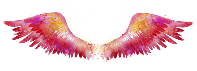 Beautiful magic red pink watercolor wings, symbol of freedom © Евгения Савченко
