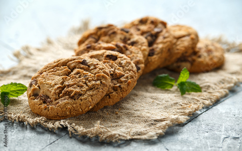 Delicious Double chocolate chip cookies with mint. © grinchh