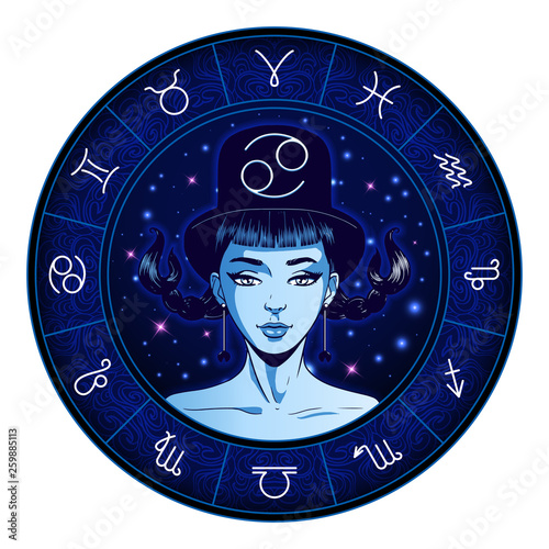 Cancer zodiac sign artwork, beautiful girl face, horoscope symbol, star sign, vector illustration © paw
