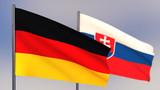 Slovakia 3D flag waving in wind.