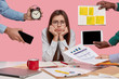 Leinwanddruck Bild - Sad female workaholic keeps hands under chin, busy making project work, studies papers, wears elegant white shirt, sits at desktop, unknown people stretch hands with notes, alarm clock, smartphone