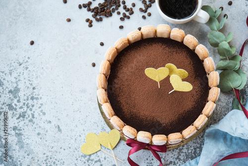 Birthday cake. Traditional Italian tiramisu dessert © Evgenija