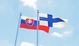 Finland and Slovakia, two flags waving against blue sky. 3d image