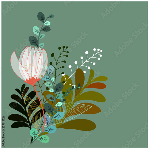 abstract floral background with flowers and colorful leaves - 259918726