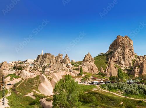 Leinwandbild Motiv The view of the ancient city and fortress Uchisar, Cappadocia, Turkey