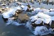 canvas print picture - Fluss im Winter