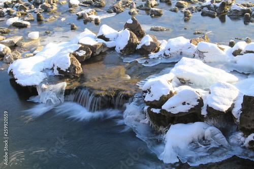 canvas print picture Fluss im Winter