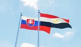 Egypt and Slovakia, two flags waving against blue sky. 3d image