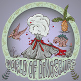 ilustracja kolor_24_z małych dinozaurów i drzew, roślin, kamieni, do projektowania w stylu Doodle
