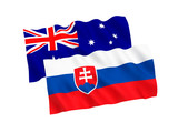 National fabric flags of Australia and Slovakia isolated on white background. 3d rendering illustration. 1 to 2 proportion.