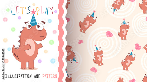 Happy Birthday dinosaur - seamless pattern © HandDraw