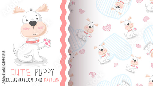 Hello cute puppy - seamless pattern © HandDraw