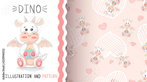 Cute teddy dino - seamless pattern © HandDraw