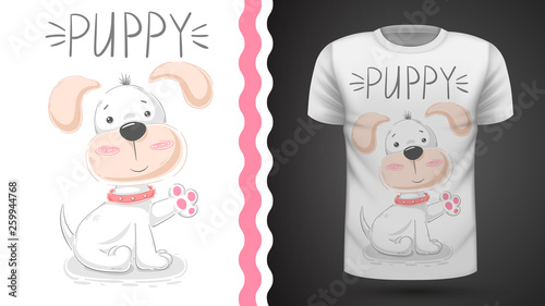 Cute puppy - idea for print t-shirt. © HandDraw