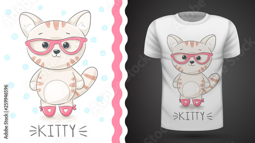 Pretty kittty idea for print t-shirt © HandDraw
