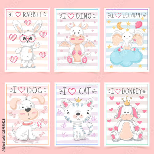 Set animals - crtoon a4 template © HandDraw