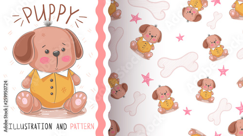Dog, tedy puppy - seamless pattern © HandDraw