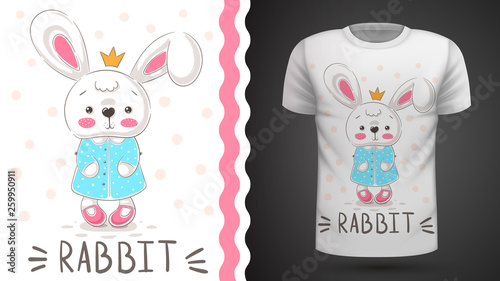 Princess rabbit - idea for print t-shirt. © HandDraw