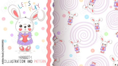 Rabbit with heart - seamless pattern © HandDraw