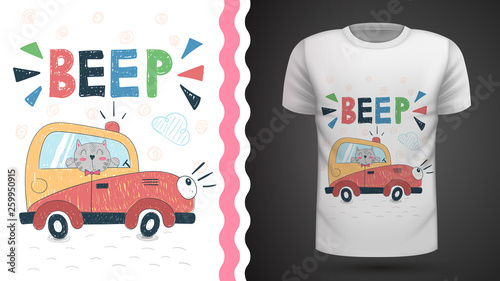 Cat in car - idea for print t-shirt. © HandDraw