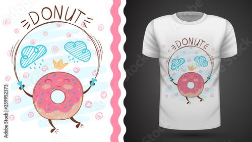 Jump donut - idea for print t-shirt. © HandDraw