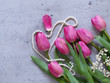 spring flowers, pink tulips bouquet for decor