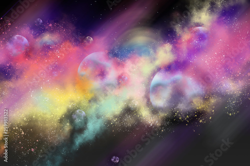 digital painting galaxy in space colorful,space of nebula © Aphisit