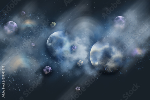 digital painting space with nebula and stars © Aphisit