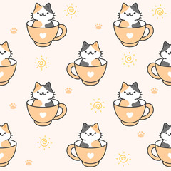 Cute cat in a cup of coffee Seamless Pattern Background © AomAm