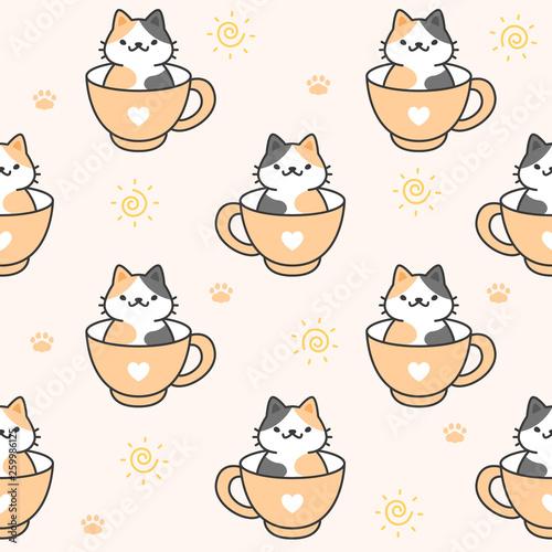 fototapeta na ścianę Cute cat in a cup of coffee Seamless Pattern Background