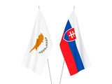 National fabric flags of Slovakia and Cyprus isolated on white background. 3d rendering illustration.