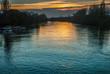 the kew bridge river at sunset. - 259988573