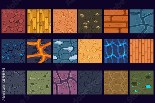 Ground concrete stone texture patterns set vector Illustrations
