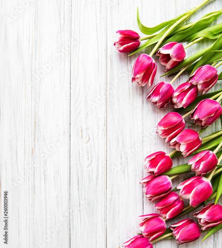 Leinwandbild Motiv Pink spring tulips