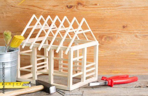 Home renovation construction diy abstract background with tools on wooden board - 260006727
