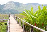 Fototapeta Bambus - closeup bamboo way wooden bridge © chochowy