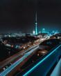 canvas print picture - Futuristic & surreal city night scape of Berlin