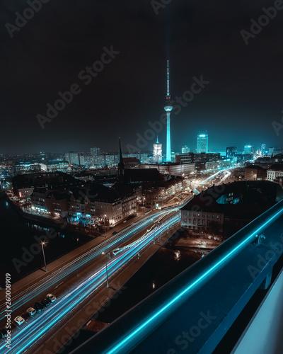 canvas print picture Futuristic & surreal city night scape of Berlin