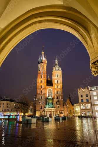 St Mary Basilica at Night in Krakow