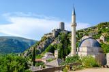 view on mosque in Počitelj village in Bosnia and Herzegovina
