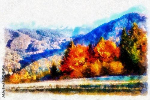 Landscape with mountains and trees, aquarel and computer effect.