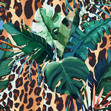 Leopard seamless pattern. Tiger skin background. Animal print. Vector illustration - 260031568