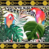Fashion seamless pattern. Animal print with parrots and tropical leaves. Glamour border with leopard elements and chains. Vector illustration - 260031578