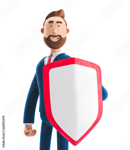 3d illustration. Businessman Billy with shield. Safety and protection in business