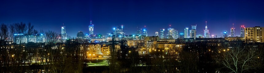 Beautiful, amazing panoramic view of Warsaw (Poland) with skyscrapers and a Palace of Culture and Science during spring flowering at night