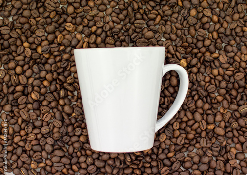 White Cup on coffee beans background © Uladzimir Martyshkin